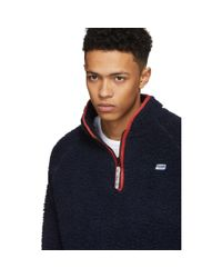 Martine Rose - Blue Navy Fleece Track Sweater for Men - Lyst