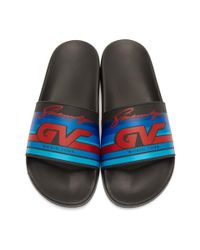 Givenchy - Black Gv World Tour Motocross Pool Slides for Men - Lyst