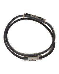 Saint Laurent - Black Leather Logo Wrap Bracelet for Men - Lyst