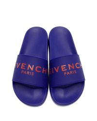 Givenchy - Blue Logo Slides for Men - Lyst