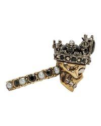 Alexander McQueen - Metallic Gold Queen Skull Ring - Lyst