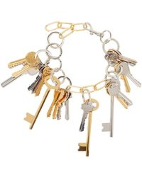 Balenciaga - Metallic Gold And Silver Multi-key Necklace - Lyst