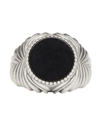 Emanuele Bicocchi - Metallic Silver And Black Stone Ring for Men - Lyst