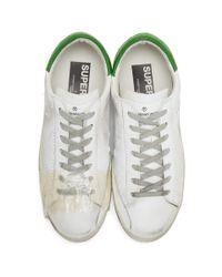 Golden Goose Deluxe Brand White & Green Tape Superstar Sneakers for men
