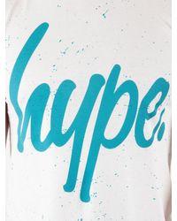 Hype - White/teal Speckle Script T-shirt for Men - Lyst