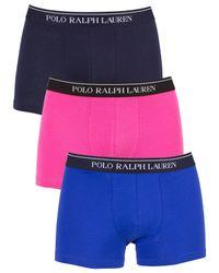 Polo Ralph Lauren - /navylogan Sapphire/pink 3 Pack Cotton Stretch Logo Trunks for Men - Lyst