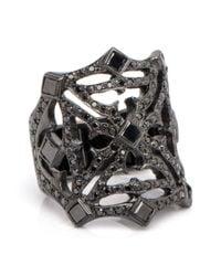 Loree Rodkin   Pave Black Diamond Web Ring   Lyst