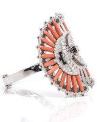 Silvia Furmanovich - Multicolor Coral, Onyx, And Diamond Fan Cuff - Lyst