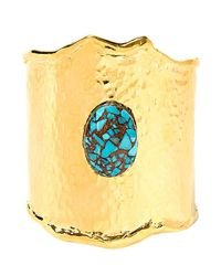 Devon Leigh | Metallic Hammered Gold And Turquoise Mosaic Cuff | Lyst