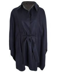 Valentina Kova - Blue Navy And Grey River Reversible Cape - Lyst