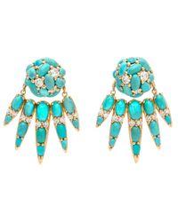 Nikos Koulis   Blue Turquoise And Diamond Cluster Earrings   Lyst