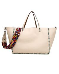 Valentino - Natural Cuir To Cream Reversible Rockstud Rolling Tote - Lyst