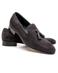 Gravati | Gray Grey Suede Leather Tassel Loafer | Lyst