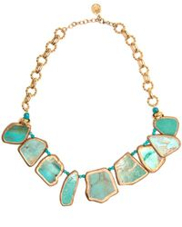 Devon Leigh | Blue Copper Infused Turquoise Slab Necklace | Lyst