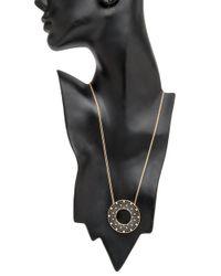 Roule & Co. - Blackened White Diamond Halo Pendant Necklace - Lyst
