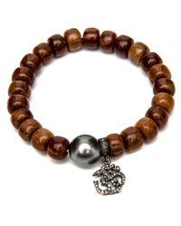 Loree Rodkin - Brown Wood Beaded Bracelet - Lyst
