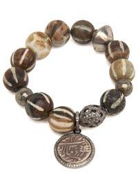 Hannah Ferguson - Multicolor African Wooden Bead Bracelet With Coin Charm - Lyst