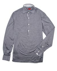 Isaia - Gray Grey Striped Jersey Knit Dress Shirt for Men - Lyst
