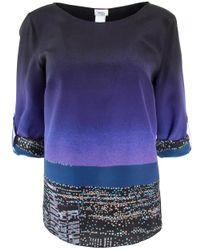 Akris Punto Blue City Print Silk Blouse