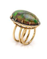 Sylva & Cie - Metallic 18k Smoked Ethiopian Opal Cabochon Ring - Lyst