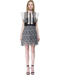 Self-Portrait | Black Ruffled Floral-Lace Dress | Lyst