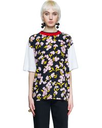 Marni - Black Printed Cotton And Silk T-shirt - Lyst