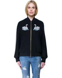Stella McCartney - Black Embroidered Wool Bomber Jacket - Lyst