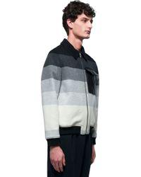 J.W.Anderson - Blue Striped Wool Bomber for Men - Lyst
