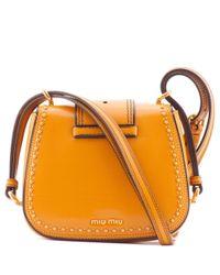 Miu Miu - Orange Jewelled Leather Shoulder Bag - Lyst