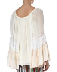 Chloé - Natural Silk Crepon Blouse - Lyst