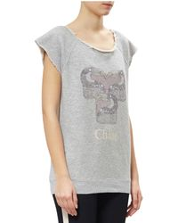 Chloé   Gray Cotton Short Sleeved Sweatshirt   Lyst