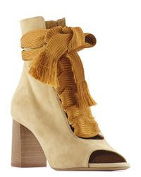 Chloé - Natural 70mm Harper Open Toe Suede Ankle Boots - Lyst