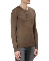Tom Ford - Brown Superfine Long Sleeved Henley for Men - Lyst