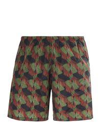 Prada - Green Printed Nylon Swimming Trunks for Men - Lyst