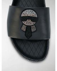 Fendi - Black 'Karlito' Slides for Men - Lyst