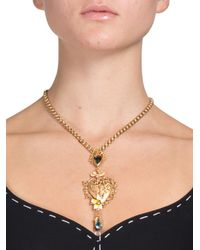 Dolce & Gabbana - Metallic Brass & Crystal Baroque Heart Necklace - Lyst
