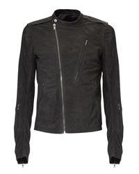 Rick Owens | Gray Blistered Leather Biker Jacket for Men | Lyst