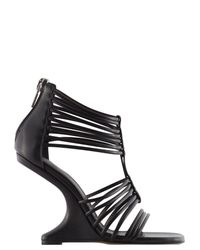 Rick Owens | Black Leather Cut Out Wedges | Lyst