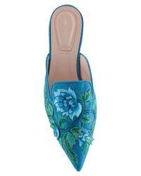 Alberta Ferretti - Blue Embroidered Silk Blend Flat Mules - Lyst