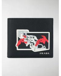 Prada - Black Printed Saffiano Wallet for Men - Lyst