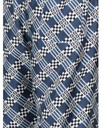 Fendi - Blue Check Print Silk Trousers - Lyst