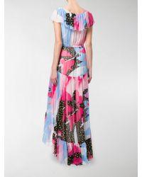Philosophy Di Lorenzo Serafini - Multicolor Printed Ruffled Trim Asymmetric Dress - Lyst