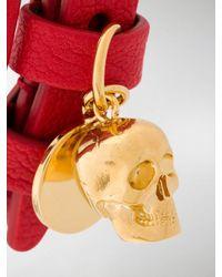 Alexander McQueen - Red Double Wrap Skull Bracelet - Lyst