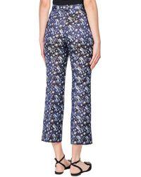 Erdem - Blue Eda Floral Silk Blend Cropped Trousers - Lyst