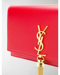 Saint Laurent - Red Kate Monogram Chain Wallet - Lyst