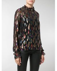Saint Laurent - Multicolor Lurex And Silk Top - Lyst