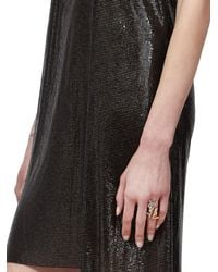 Saint Laurent - Metallic Logo Cocktail Ring - Lyst