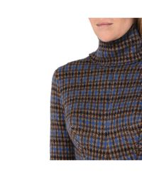 Stella McCartney - Blue Turtleneck Check Sweater - Lyst