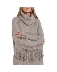 Stella McCartney - Gray Large Volume Fringe Jumper - Lyst