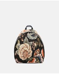Stella McCartney - Multicolor Tapestry And Denim Small Backpack - Lyst